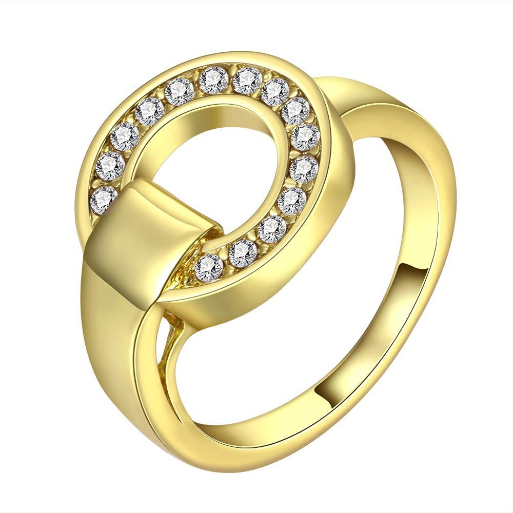 Vienna Jewelry Gold Plated Circular Abstract Emblem Ring Size 8