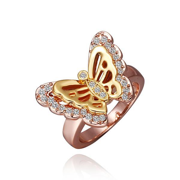 Vienna Jewelry Rose Gold Plated Flying Petite Butterfly Ring Size 8