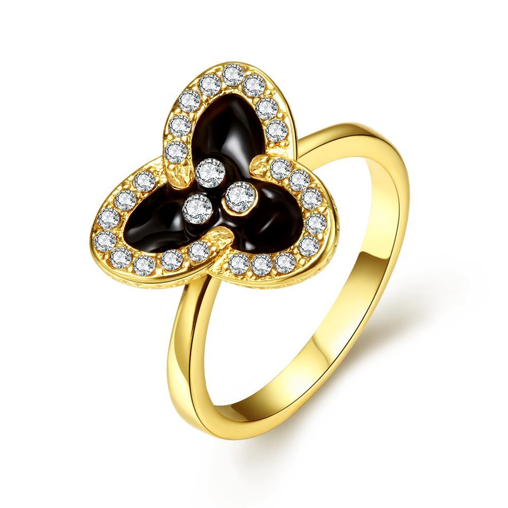 Vienna Jewelry Gold Plated Triangular Clover Ring Size 7