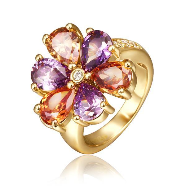 Vienna Jewelry Gold Plated Rainbow Floral Petal Ring Size 8