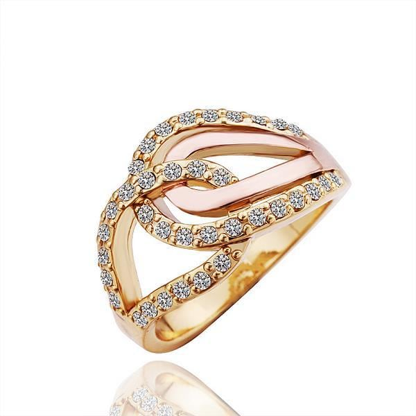 Vienna Jewelry Gold Plated Interlocked Ring with Jewels Layering Size 8