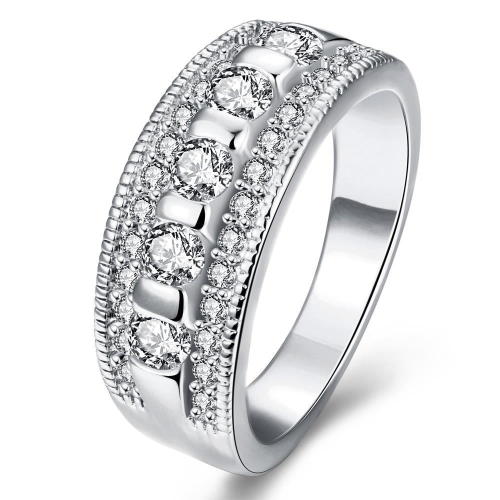 Vienna Jewelry Gold Plated Horizontal Diamond Jewels Ring