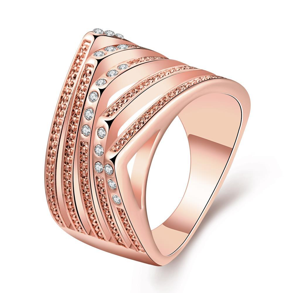 Vienna Jewelry Rose Gold Plated Abstract Design Ring with Jewel Lining Size 7