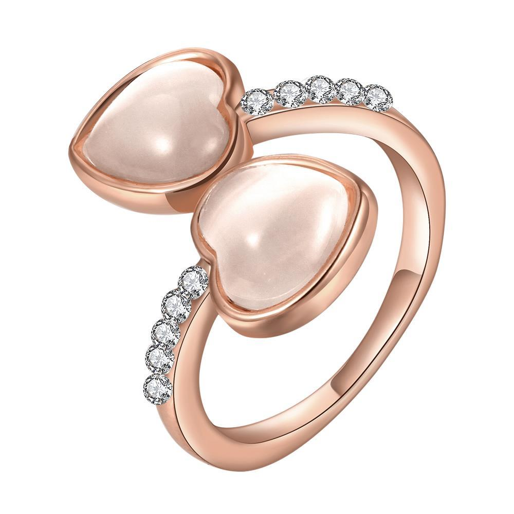 Vienna Jewelry Rose Gold Plated Double Heart Shaped Ivory Plating Ring Size 7 - Thumbnail 0