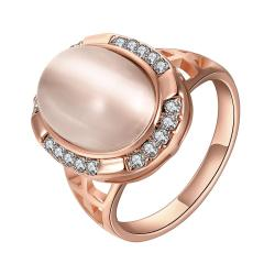 Vienna Jewelry Rose Gold Plated Classical Onyx Centerpiece Ring Size 8 - Thumbnail 0