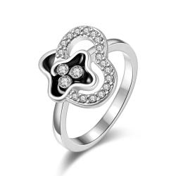 Vienna Jewelry White Gold Plated Swirl Design Jewels Covering Ring Size 7 - Thumbnail 0