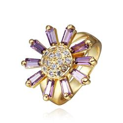 Vienna Jewelry Gold Plated Lavender Citrine Floral Ring Size 8 - Thumbnail 0