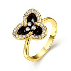 Vienna Jewelry Gold Plated Triangular Clover Ring Size 7 - Thumbnail 0