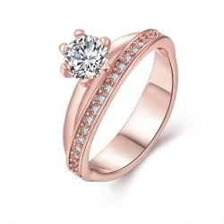 Vienna Jewelry Gold Plated Circular Curved Crystal Ring - Thumbnail 0
