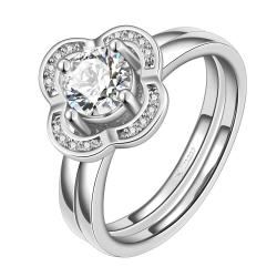 Vienna Jewelry White Gold Plated Petite Clover Shaped Ring Size 7 - Thumbnail 0