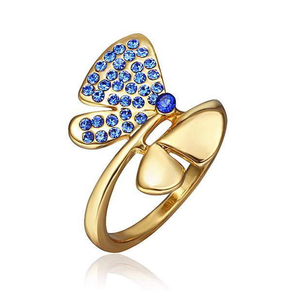 Vienna Jewelry Gold Plated Saphire Jewels Covering Butterfly Ring Size 8