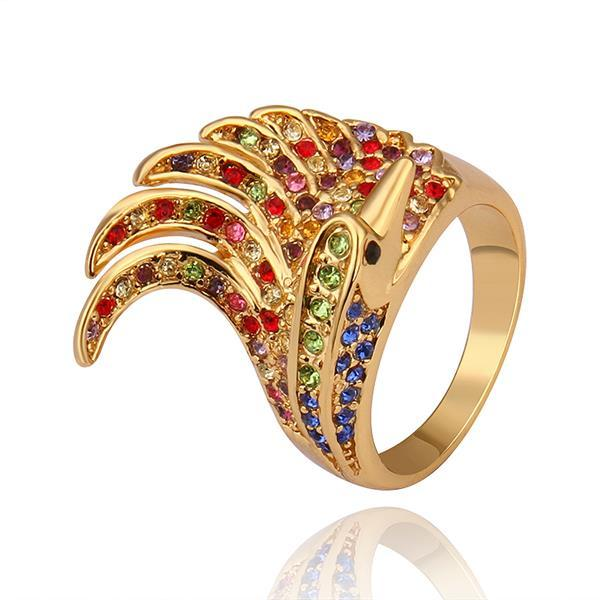 Vienna Jewelry Gold Plated Spiral Curved Rainbow Cocktail Ring Size 8