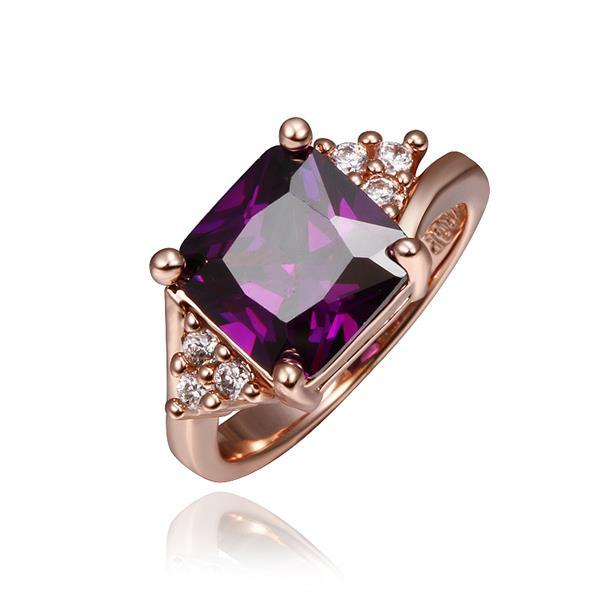 Vienna Jewelry Rose Gold Plated Lavender Citrine Center Ring Size 8