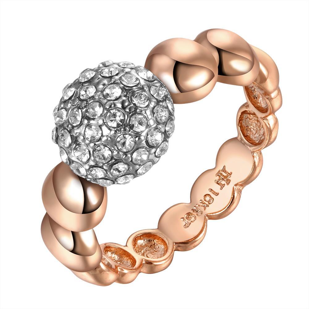 Vienna Jewelry Rose Gold Plated Ring with Swarvoski Inspired Ball Size 8