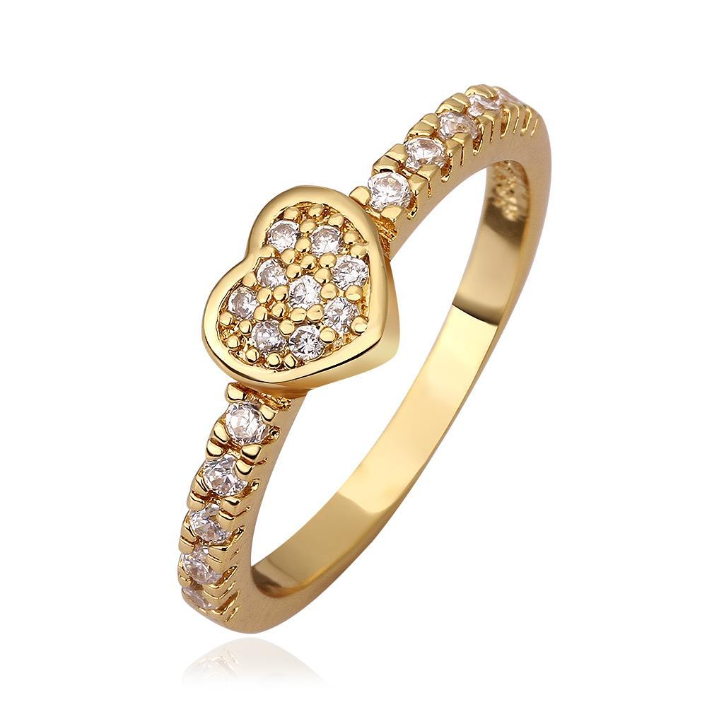 Vienna Jewelry Gold Plated Petite Heart Shaped Ring Size 7