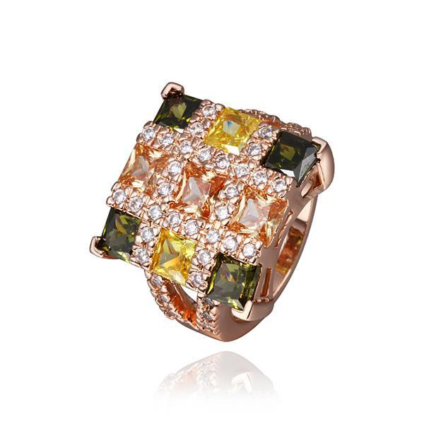Vienna Jewelry Rose Gold Plated Rainbow Cubed Cocktail Ring Size 8