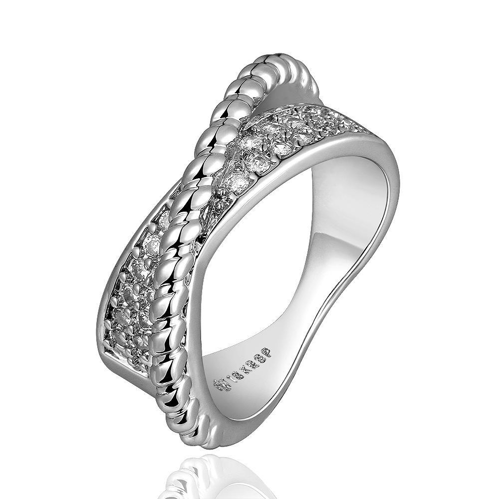 Vienna Jewelry White Gold Plated Curved Bead Line Ring Size 8