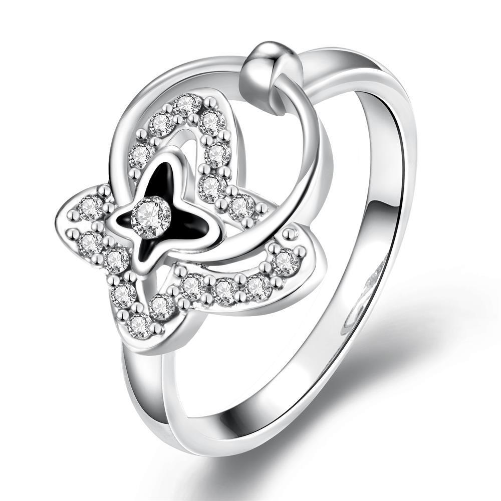 Vienna Jewelry White Gold Plated Petite Circular Butterfly Ring Size 8