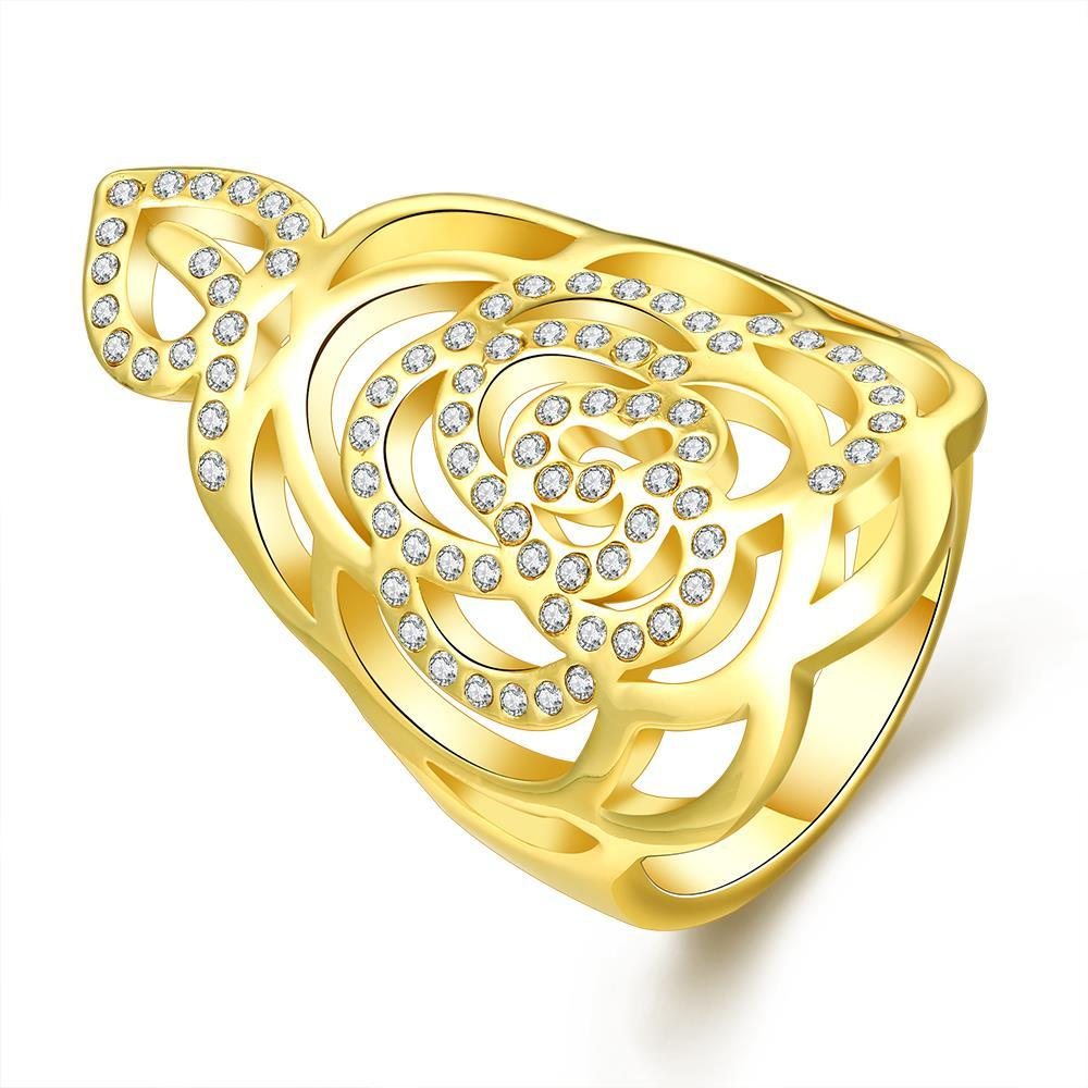 Vienna Jewelry Gold Plated Laser Cut Crown Jewel Ring Size 8