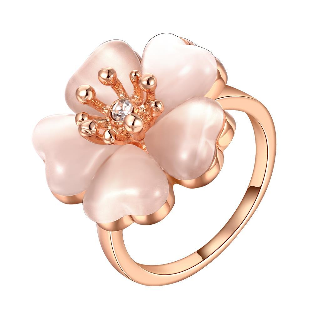 Vienna Jewelry Rose Gold Plated Blossoming Floral Rose Ring Size 8
