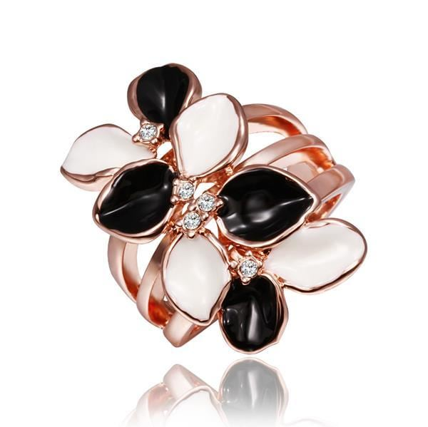Vienna Jewelry Rose Gold Plated Double Floral Branch Ring Size 8