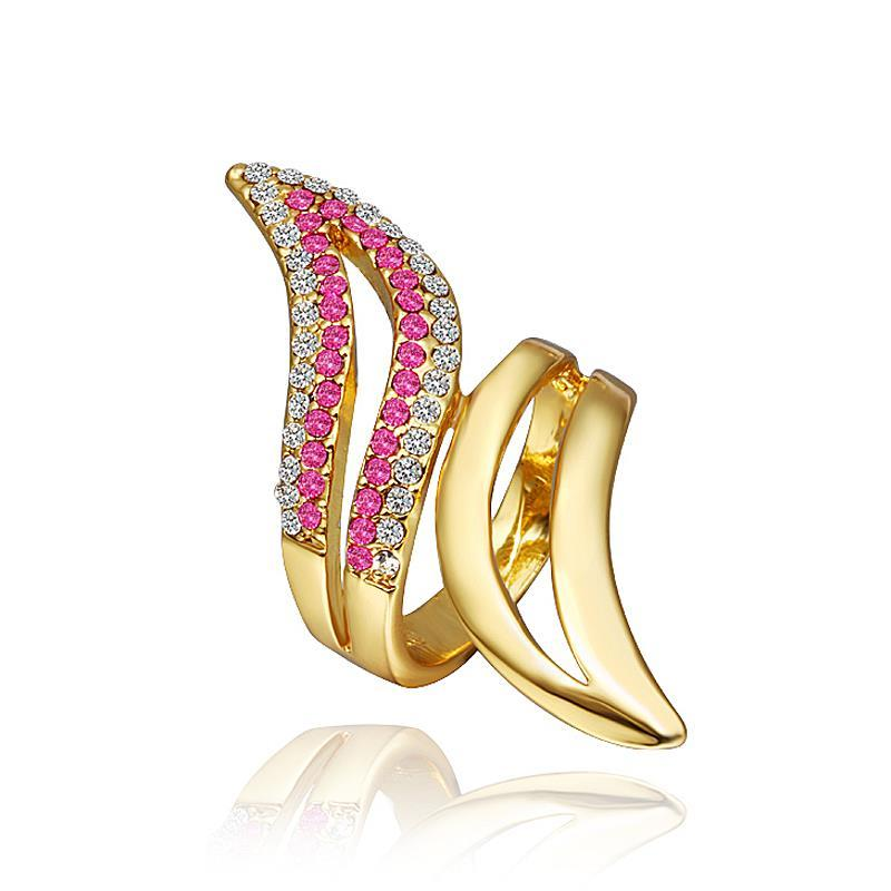 Vienna Jewelry Gold Plated Swirl Ring with Coral Jewel Ring Size 8