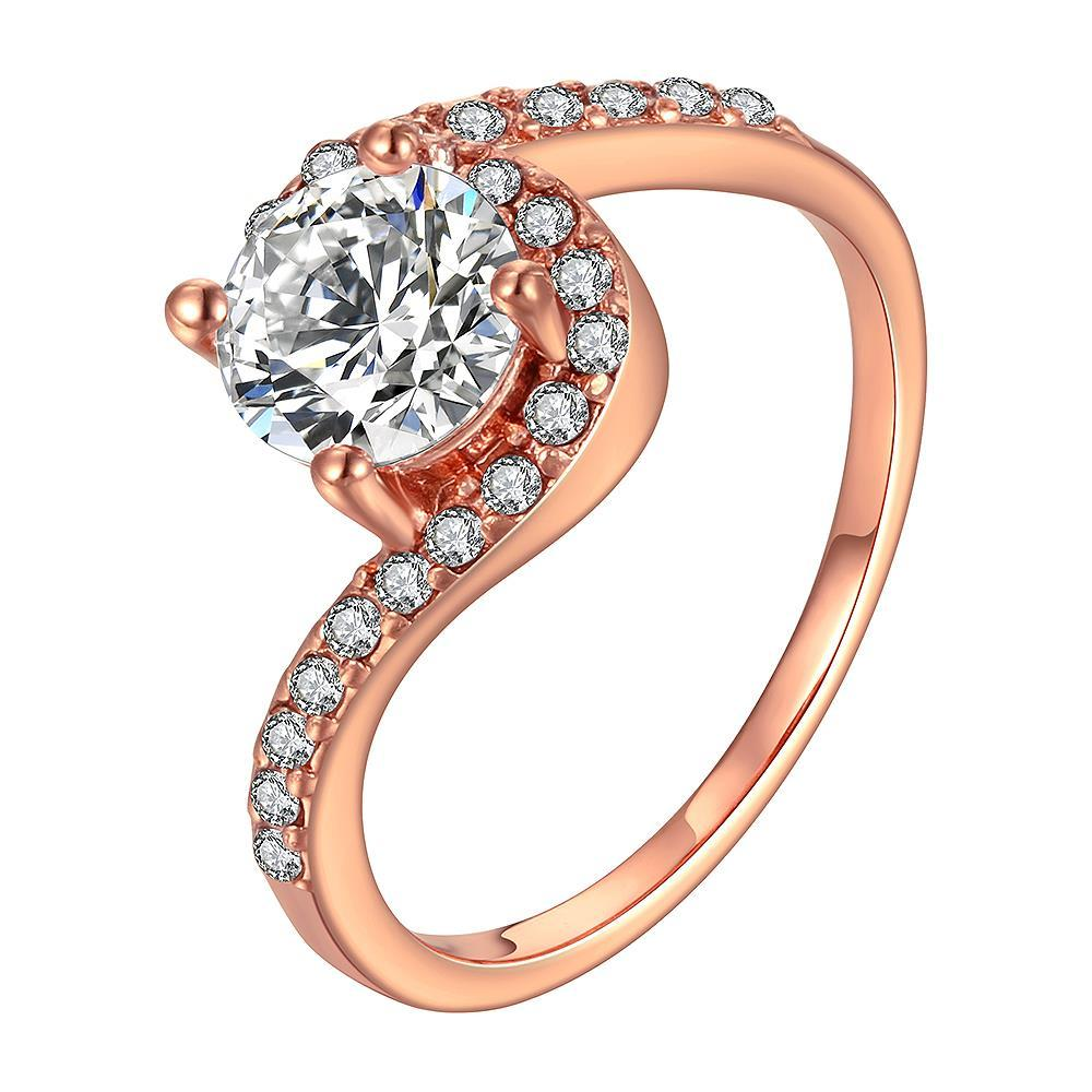 Vienna Jewelry Rose Gold Plated Swirl Design Ring with Jewel Center Size 8
