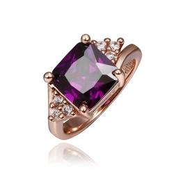 Vienna Jewelry Rose Gold Plated Lavender Citrine Center Ring Size 8 - Thumbnail 0