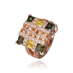 Vienna Jewelry Rose Gold Plated Rainbow Cubed Cocktail Ring Size 8 - Thumbnail 0
