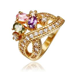 Vienna Jewelry Gold Plated Cocktail Swirl Centerpiece Ring Size 8 - Thumbnail 0