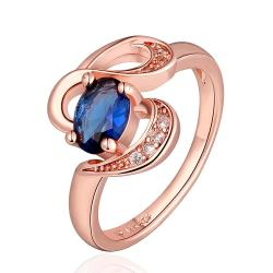 Vienna Jewelry Rose Gold Plated Swirl Saphire Design Ring Size 7 - Thumbnail 0