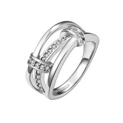 Vienna Jewelry White Gold Plated Trio-Linear Jewels Covering Ring Size 8 - Thumbnail 0