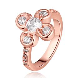 Vienna Jewelry Rose Gold Plated Quad-Clover Jewel Ring Size 7 - Thumbnail 0