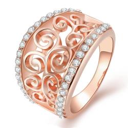 Vienna Jewelry Rose Gold Plated Swirl Design Thick Ring Size 8 - Thumbnail 0