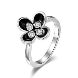Vienna Jewelry White Gold Plated Blossoming Onyx Floral Ring Size 8 - Thumbnail 0