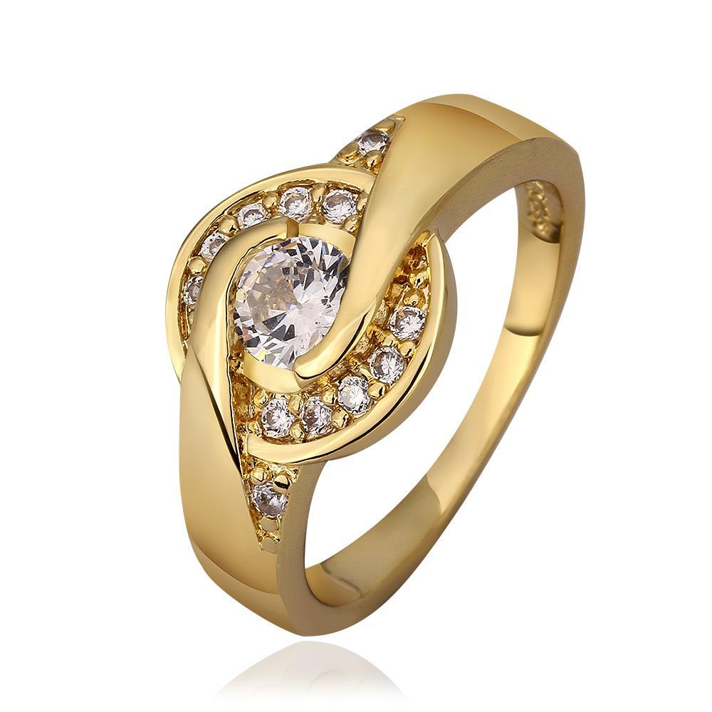 Vienna Jewelry Gold Plated Circular Emblem Ring Size 8