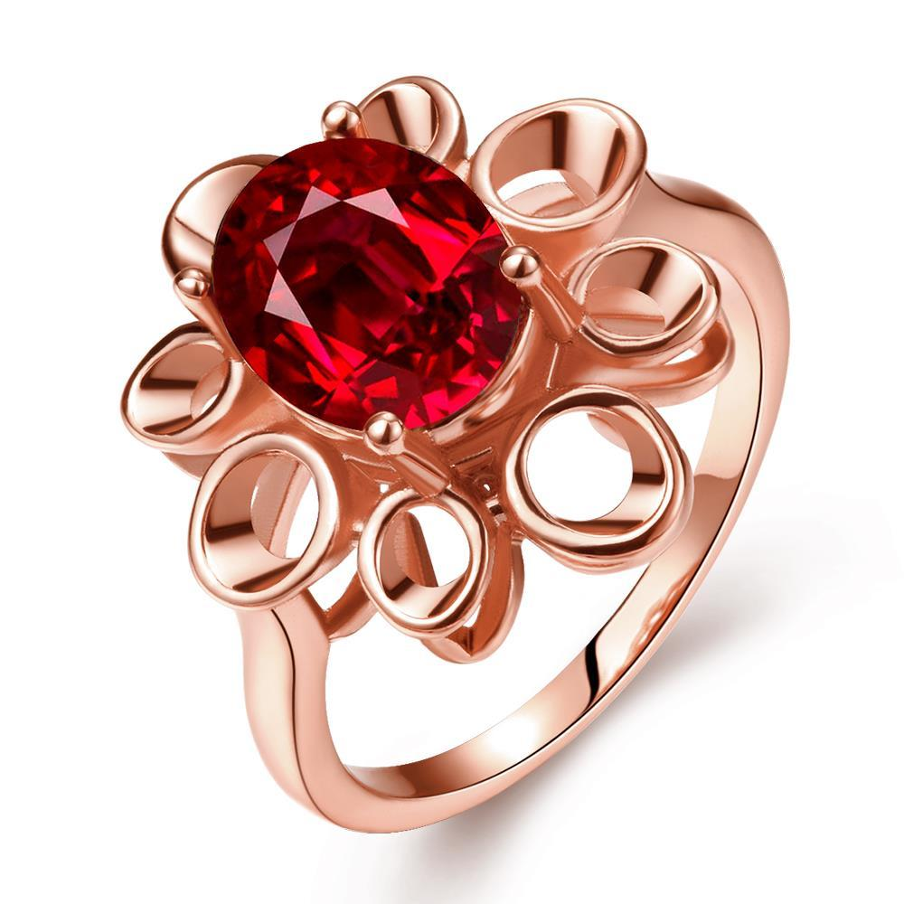 Vienna Jewelry Rose Gold Plated Laser Cut Floral Petal Ruby Red Ring Size 8