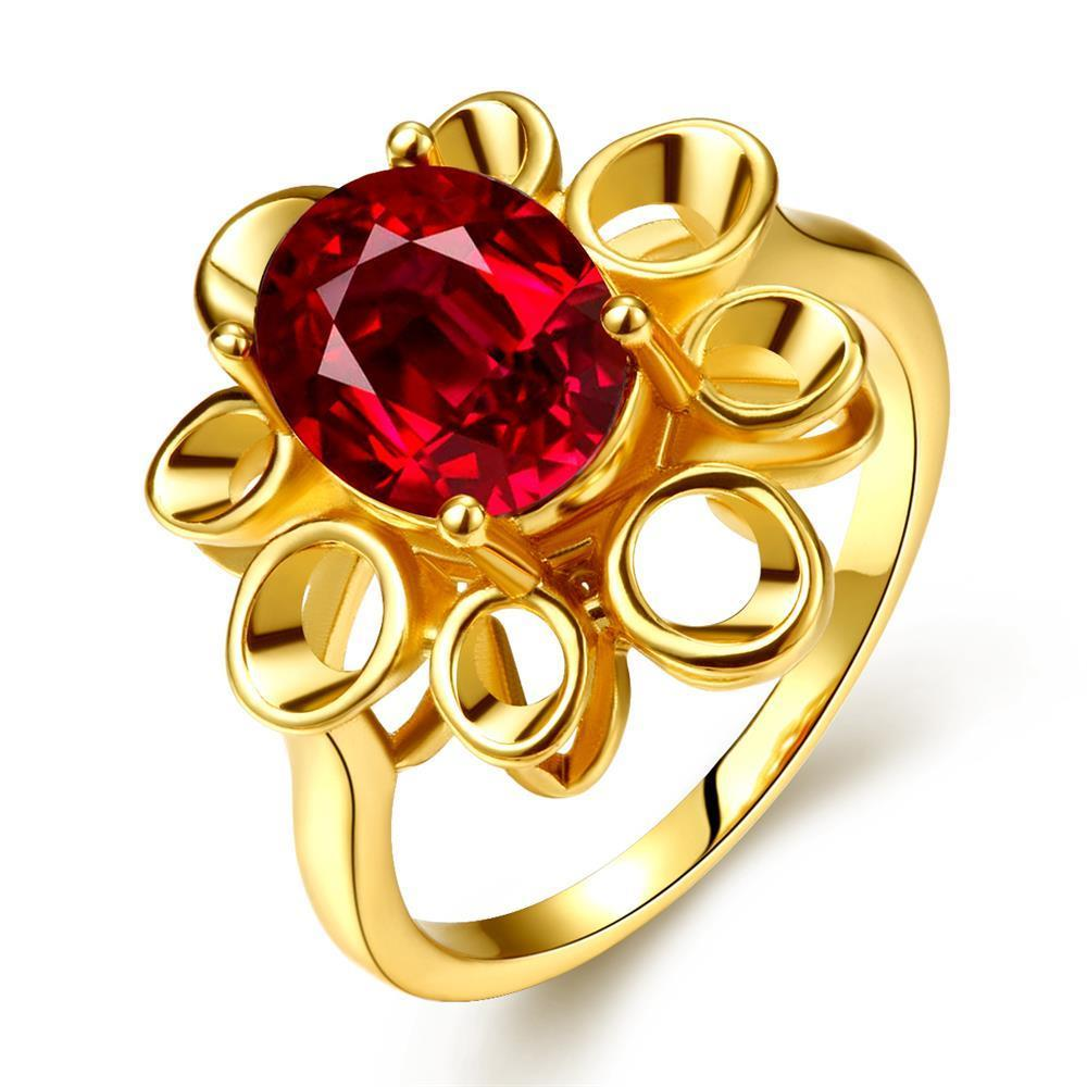 Vienna Jewelry Gold Plated Laser Cut Floral Petal Ruby Red Ring Size 7