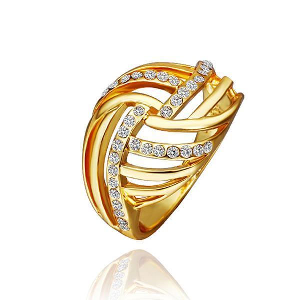 Vienna Jewelry Gold Plated Diamond Crystal Swirl Ring Size 8