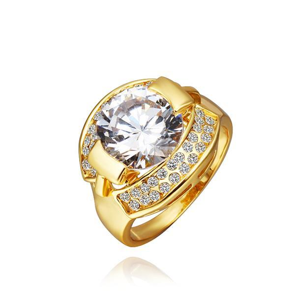 Vienna Jewelry Gold Plated Crystal Jewel Classic Center Ring Size 8