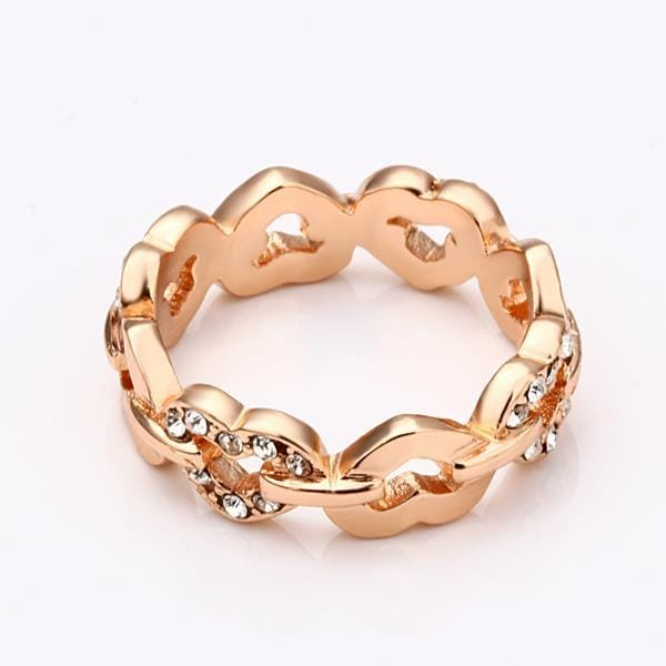 Vienna Jewelry Rose Gold Plated Connected Chain Ring Size 7