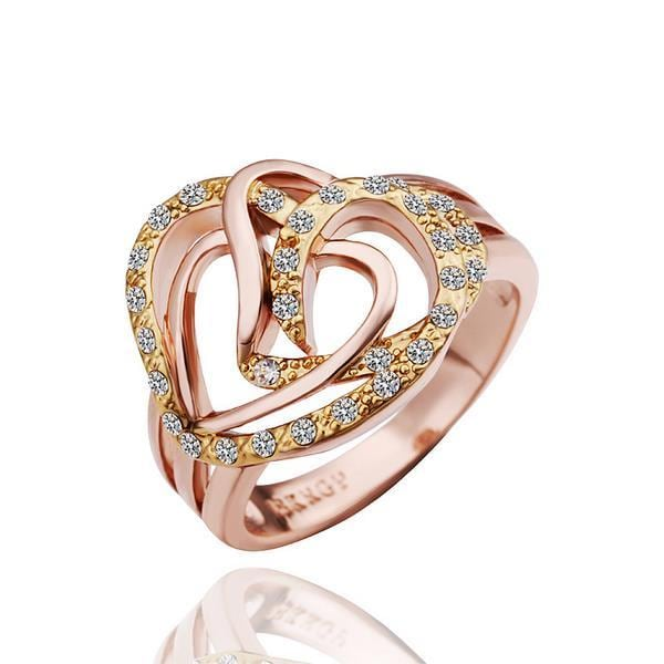 Vienna Jewelry Rose Gold Plated Abstract Heart Desgn Ring Size 8