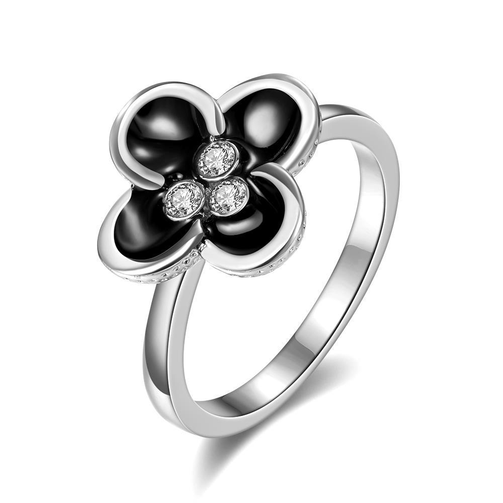 Vienna Jewelry White Gold Plated Quad-Clover Stud Ring Size 8