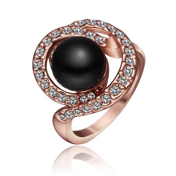 Vienna Jewelry Rose Gold Plated Swirl Onyx Gem Ring Size 8