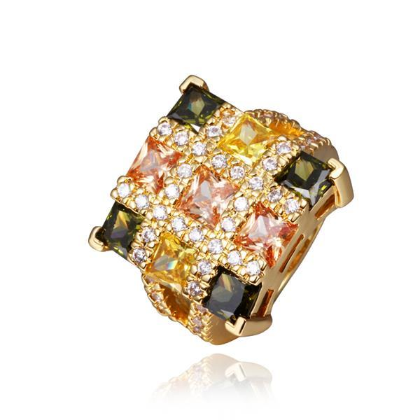 Vienna Jewelry Gold Plated Rainbow Cubed Cocktail Ring Size 8