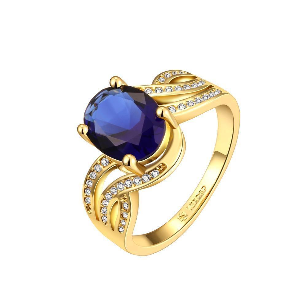 Vienna Jewelry Gold Plated Saphire Gem Swirl Modern Ring Size 8