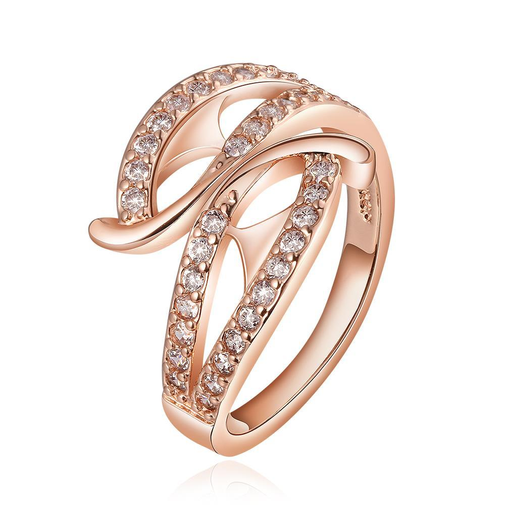 Vienna Jewelry Rose Gold Plated Curved Swirl Abstract Ring Size 8
