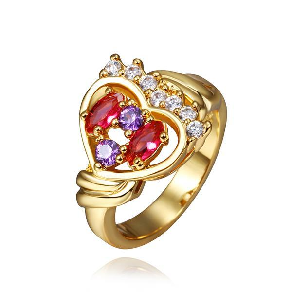 Vienna Jewelry Rose Gold Plated Heart Shaped Jewels Infused Ring Size 8