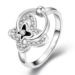 Vienna Jewelry White Gold Plated Petite Circular Butterfly Ring Size 8 - Thumbnail 0