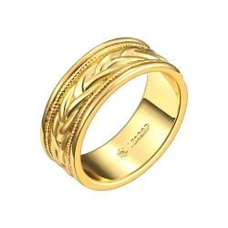 Vienna Jewelry Gold Plated Swirl Design Band Ring Size 7 - Thumbnail 0